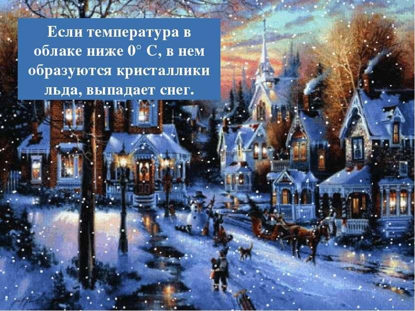 Если температура в облаке ниже 0° С, в нем образуются кристаллики льда, выпад...