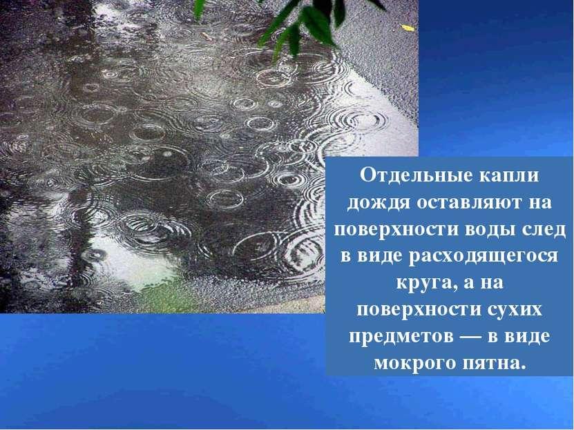 Отдельные капли дождя оставляют на поверхности воды след в виде расходящегося...