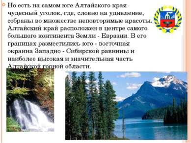 Но есть на самом юге Алтайского края чудесный уголок, где, словно на удивлени...