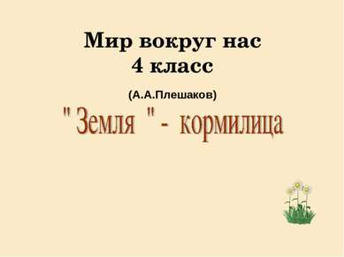 Мир вокруг нас 4 класс (А.А.Плешаков)