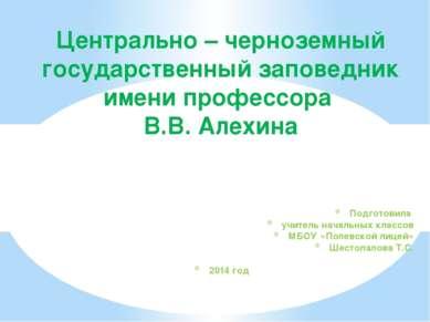 Подготовила учитель начальных классов МБОУ «Полевской лицей» Шестопалова Т.С....
