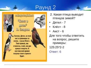 Раунд 2 2. Какая птица выводит птенцов зимой? Дятел - 7 Клёст - 8 Аист - 6 Дл...