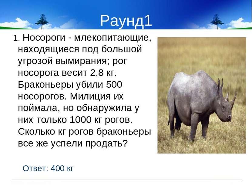 Раунд1 1. Носороги - млекопитающие, находящиеся под большой угрозой вымирания...