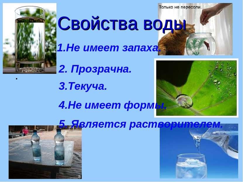 . Свойства воды Не имеет запаха. 2. Прозрачна. 3.Текуча. 4.Не имеет формы. 5....