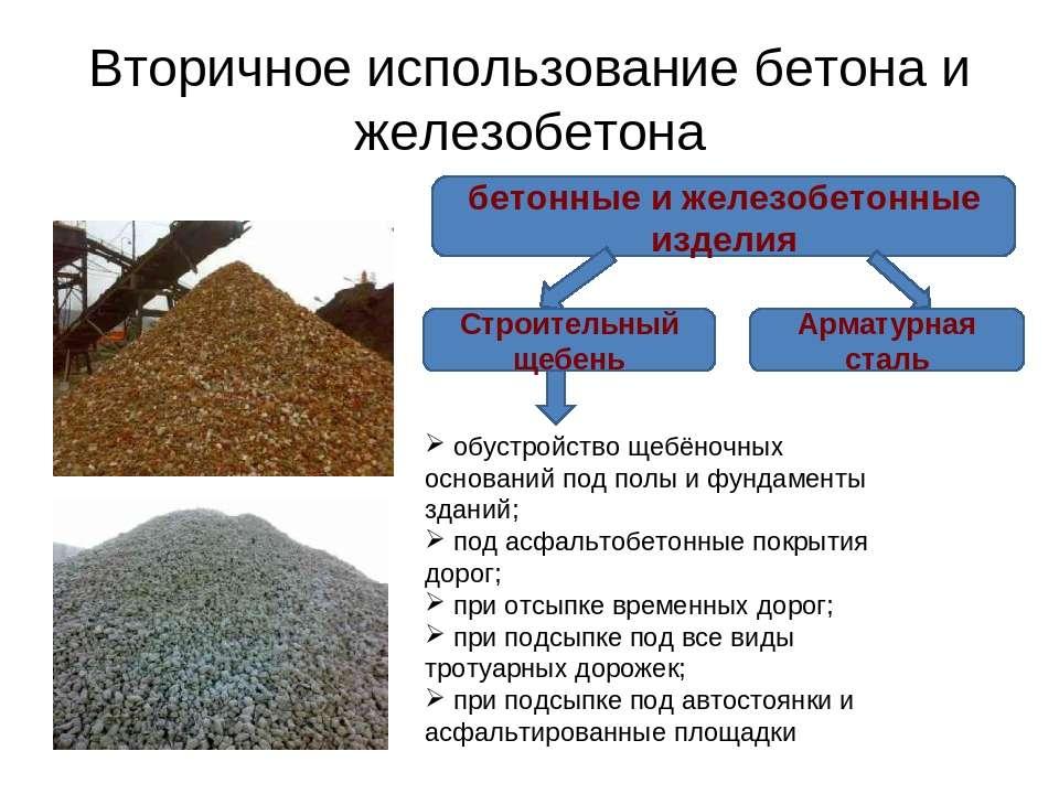 Вторичное использование бетона и железобетона бетонные и железобетонные издел...