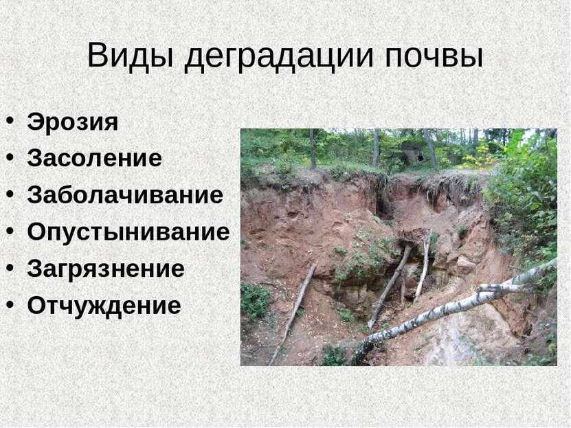 Виды деградации почвы Эрозия Засоление Заболачивание Опустынивание Загрязнени...