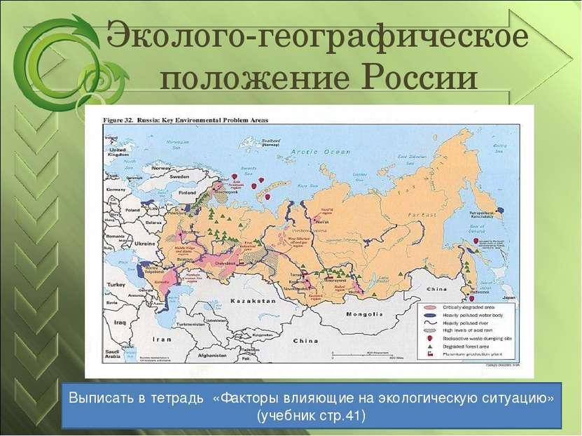 Эколого-географическое положение России Выписать в тетрадь «Факторы влияющие ...