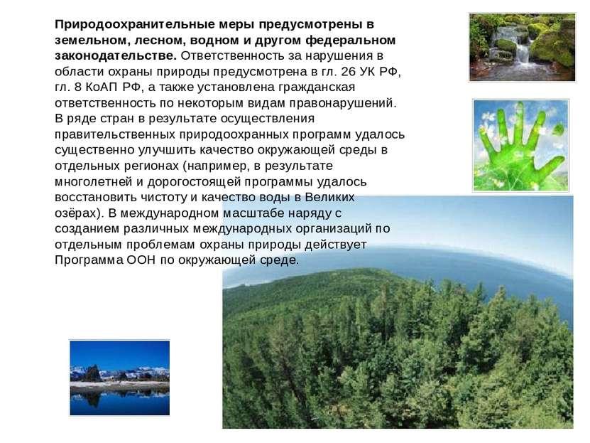 Природоохранительные меры предусмотрены в земельном, лесном, водном и другом ...
