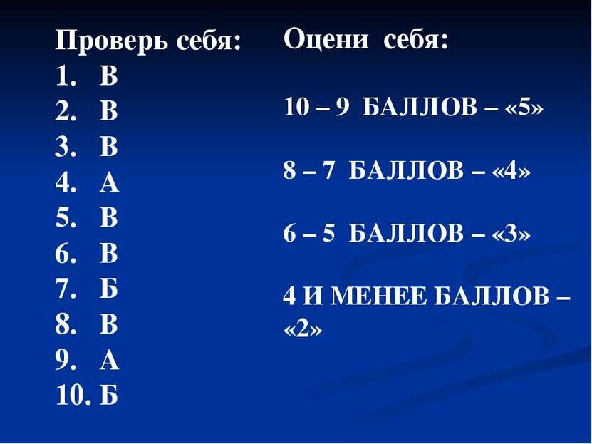 Проверь себя: В 2. В 3. В 4. А 5. В 6. В 7. Б 8. В 9. А 10. Б Оцени себя: 10 ...