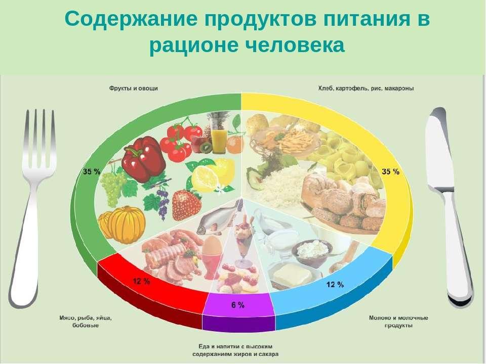 Содержание продуктов питания в рационе человека