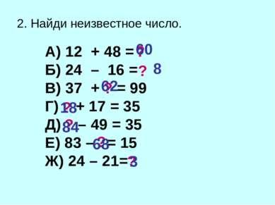 2. Найди неизвестное число. А) 12 + 48 = Б) 24 – 16 = В) 37 + = 99 Г) + 17 = ...