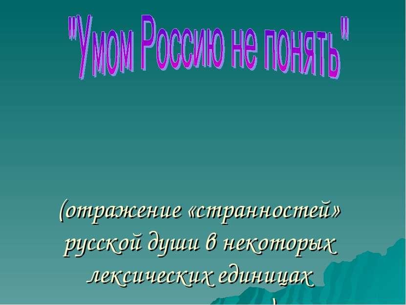 (отражение «странностей» русской души в некоторых лексических единицах русско...