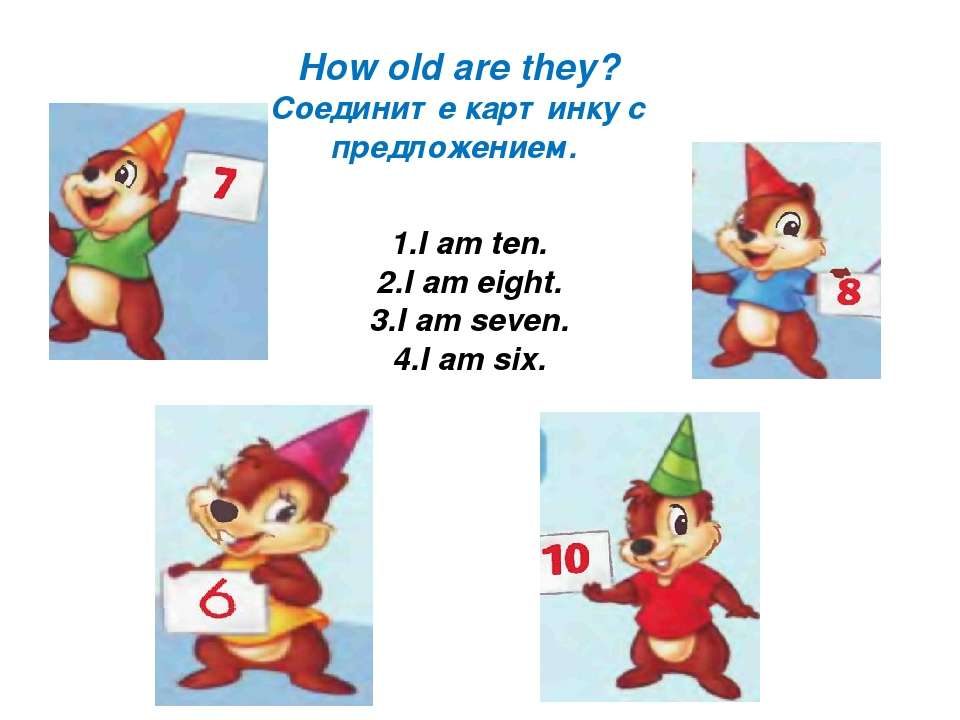 How old are they? Соедините картинку с предложением. 1.I am ten. 2.I am eight...