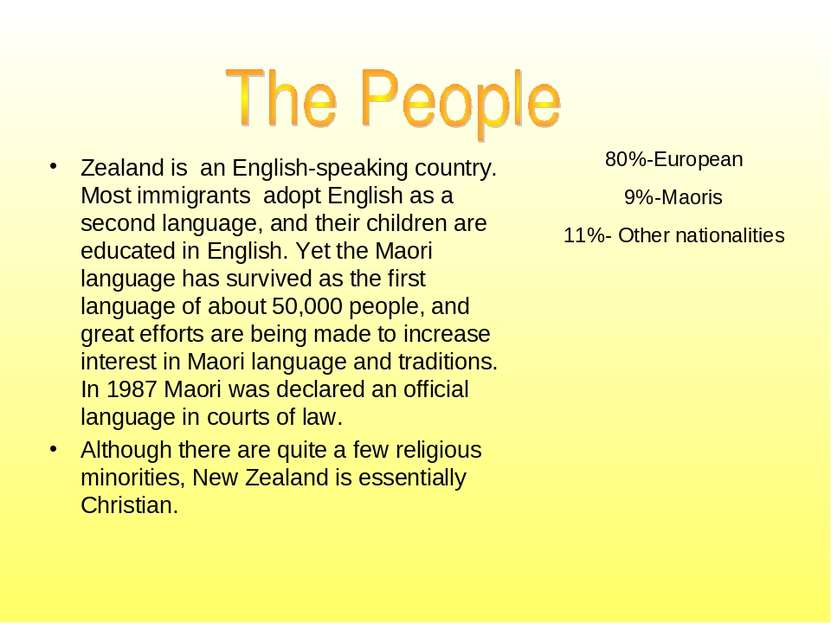 80%-European 9%-Maoris 11%- Other nationalities Zealand is an English-speakin...