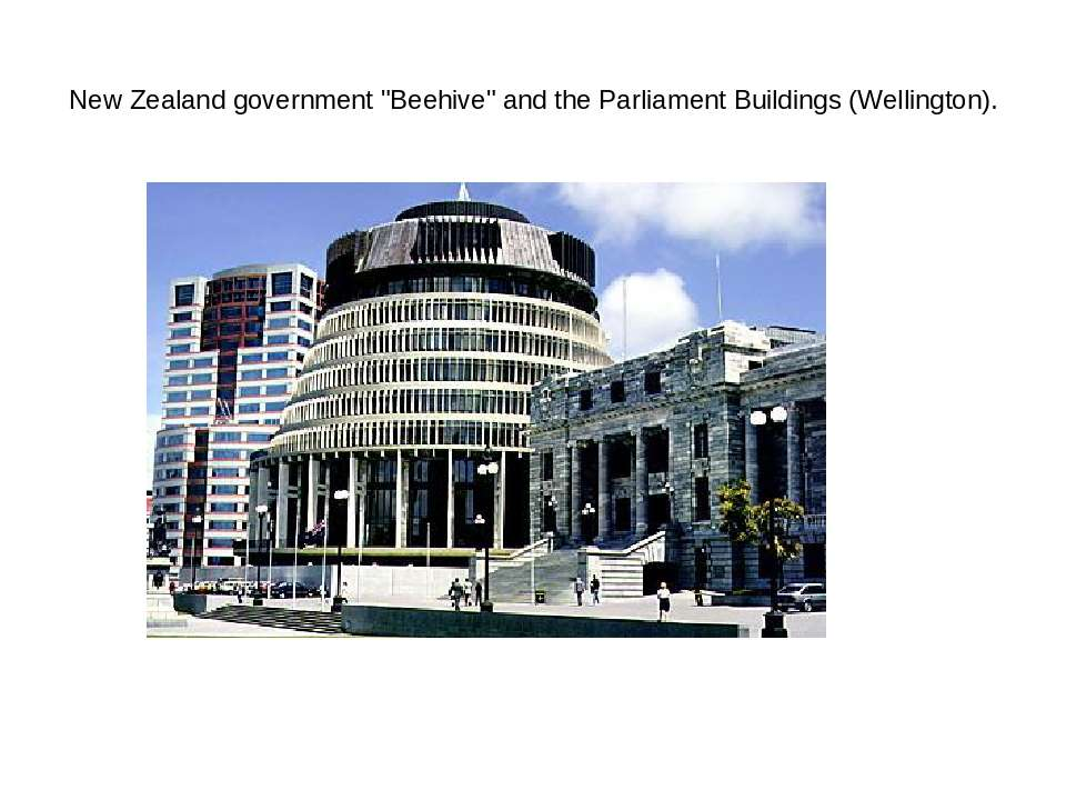 "New Zealand government ""Beehive"" and the Parliament Buildings (Wellington)."