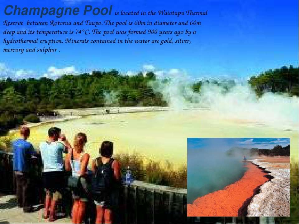 Champagne Pool is located in the Waiotapu Thermal Reserve between Rotorua and...