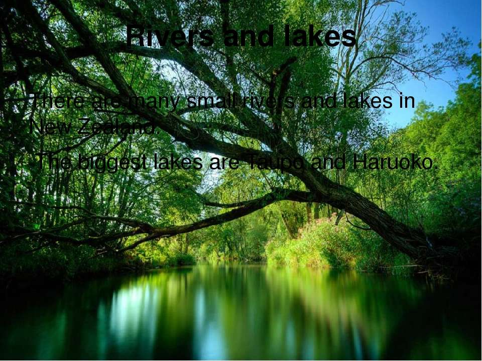 Rivers and lakes There are many small rivers and lakes in New Zealand. The bi...