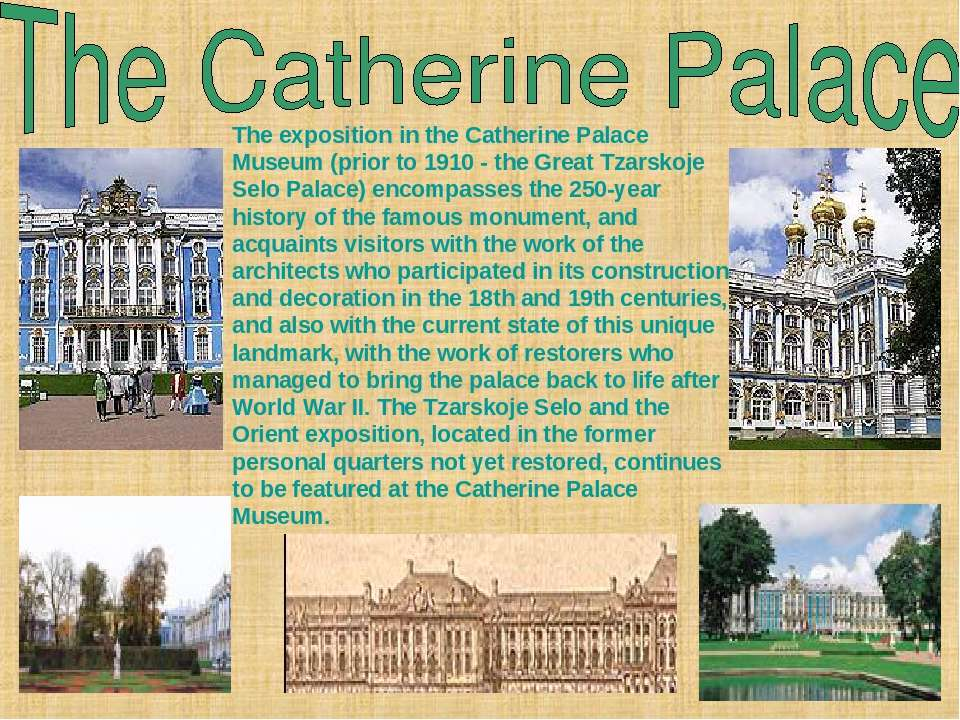 The exposition in the Catherine Palace Museum (prior to 1910- the Great Tzar...