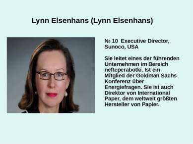 Lynn Elsenhans (Lynn Elsenhans) № 10 Executive Director, Sunoco, USA Sie leit...