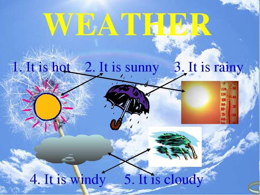 WEATHER 1. It is hot 2. It is sunny 3. It is rainy 4. It is windy 5. It is cl...