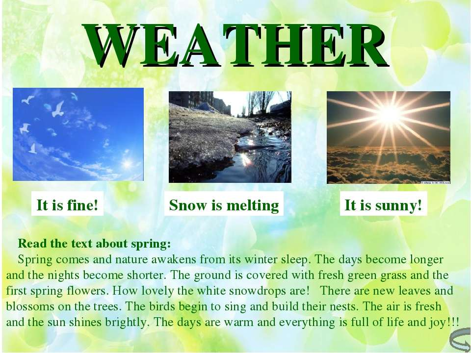 WEATHER It is fine! It is sunny! Snow is melting Read the text about spring: ...