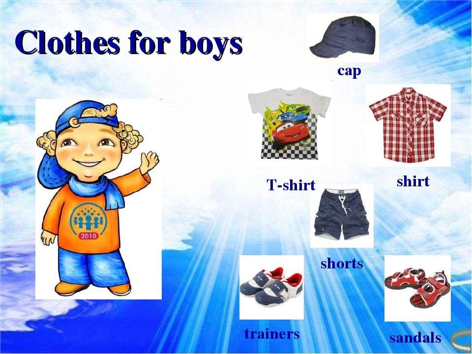 cap T-shirt shirt shorts trainers sandals Clothes for boys