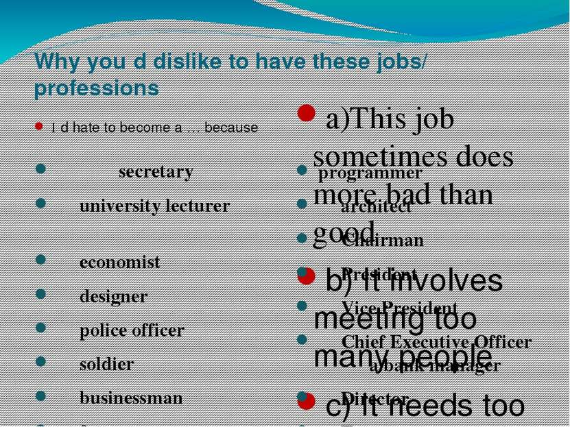 Why you΄d dislike to have these jobs/ professions I΄d hate to become a … beca...