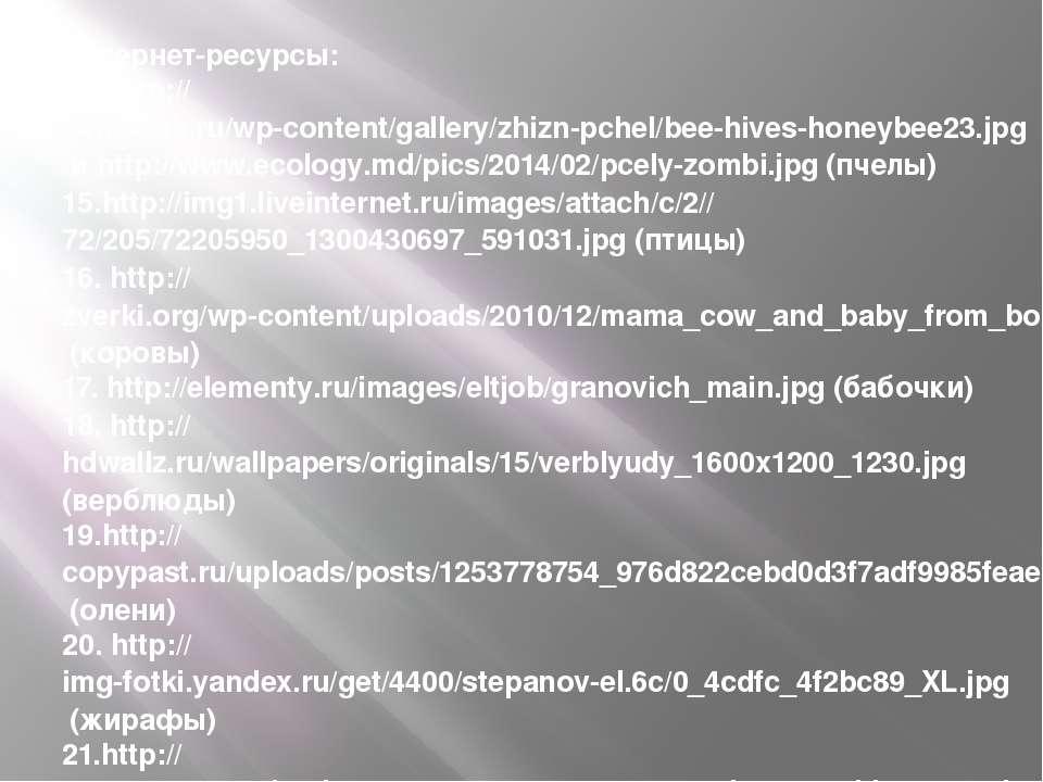 Интернет-ресурсы: 14. http://24medok.ru/wp-content/gallery/zhizn-pchel/bee-hi...