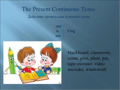 The Present Continuous Tense Действие происходит в момент речи am is Ving are...