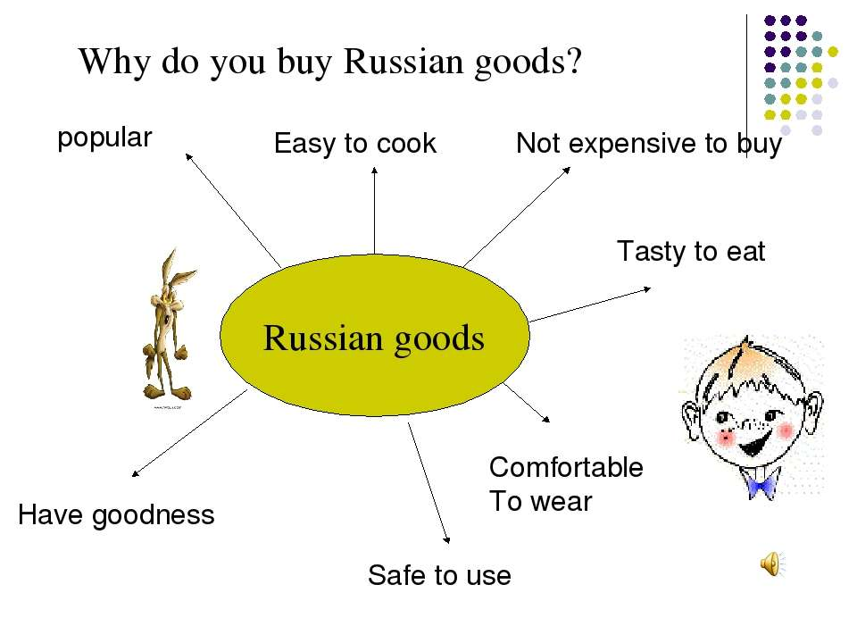 Russian goods popular Easy to cook Not expensive to buy Tasty to eat Comforta...