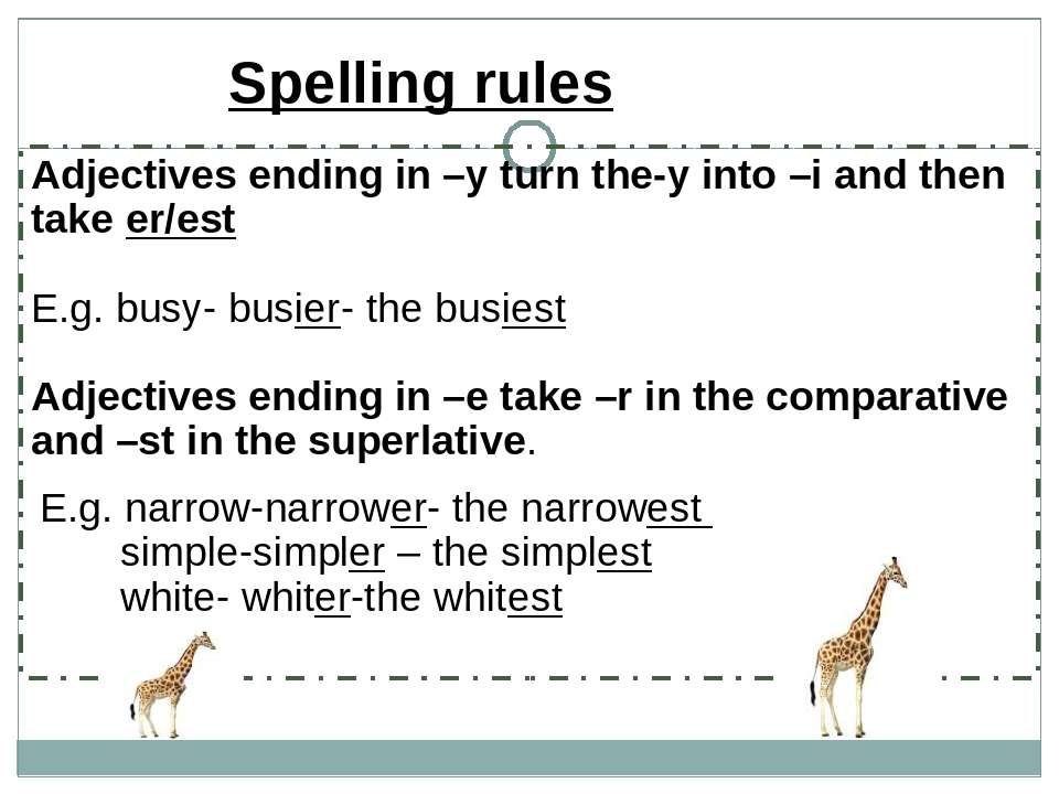 Adjectives ending in –y turn the-y into –i and then take er/est E.g. busy- bu...