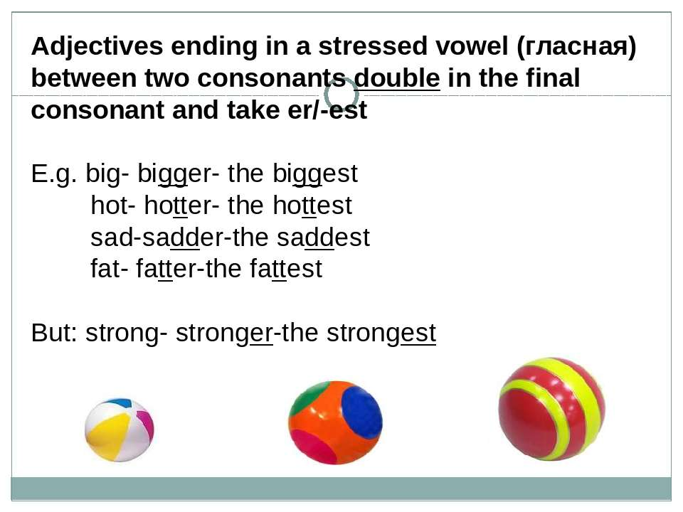 Adjectives ending in a stressed vowel (гласная) between two consonants double...