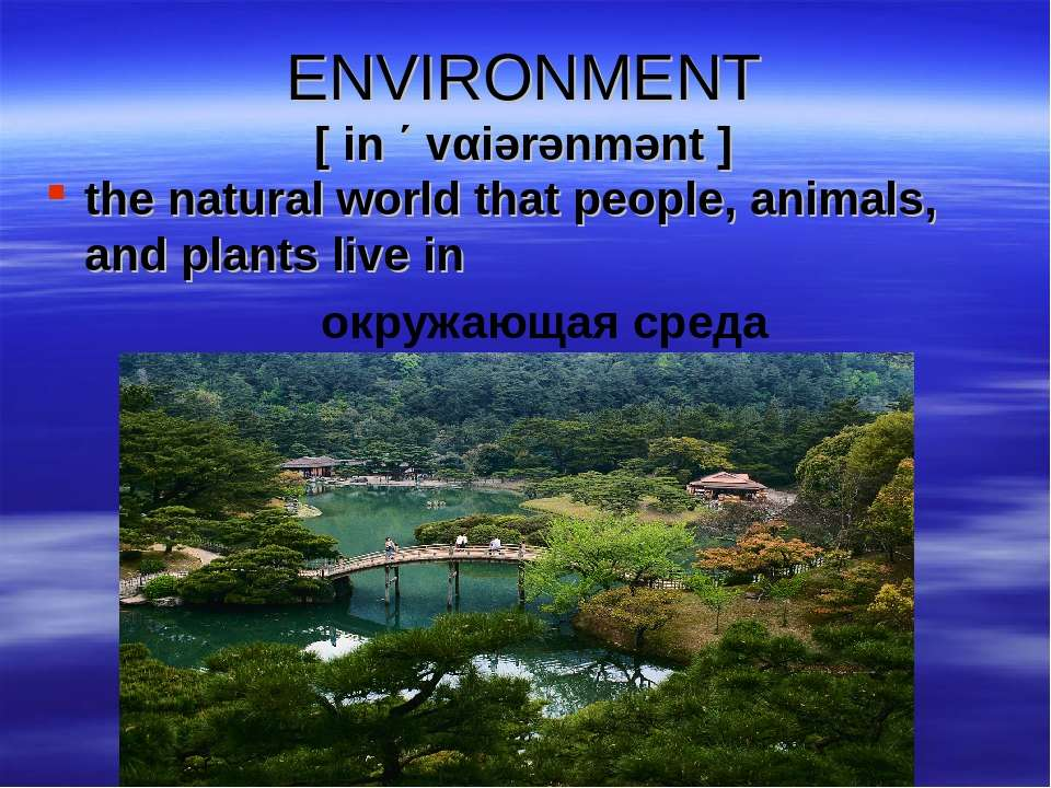 ENVIRONMENT [ in ΄ vαiərənmənt ] the natural world that people, animals, and ...