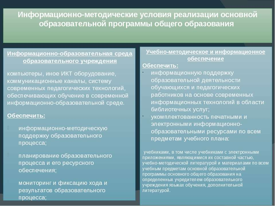 Информационно-методические условия реализации основной образовательной програ...