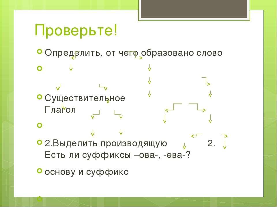 Проверьте! Определить, от чего образовано слово Существительное Глагол 2.Выде...