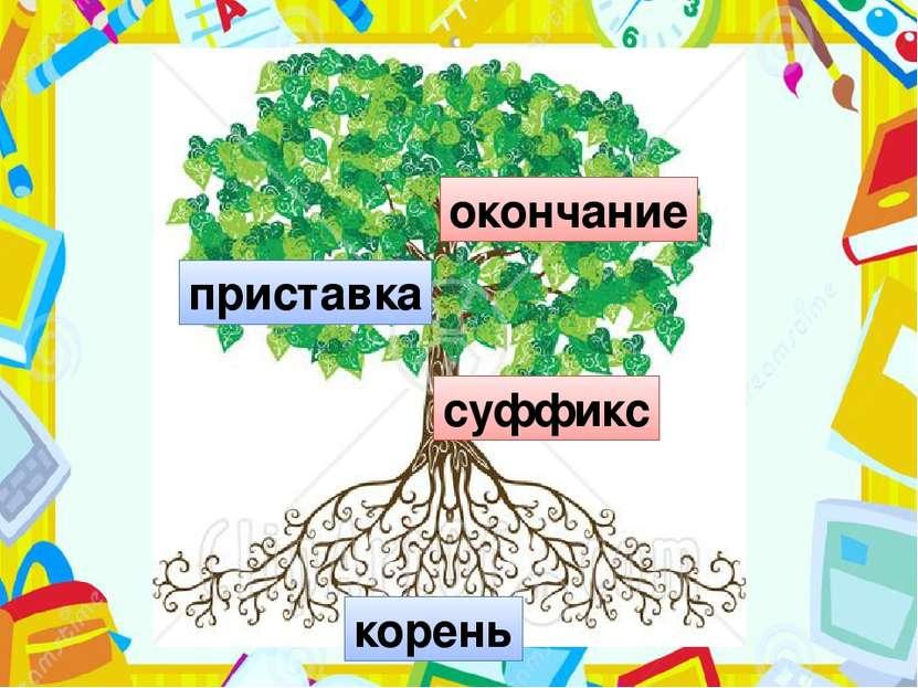 корень суффикс приставка окончание Вот оно, дерево, мы видим все его части. Н...