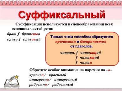 Суффиксальный Суффиксация используется в словообразовании всех основных часте...