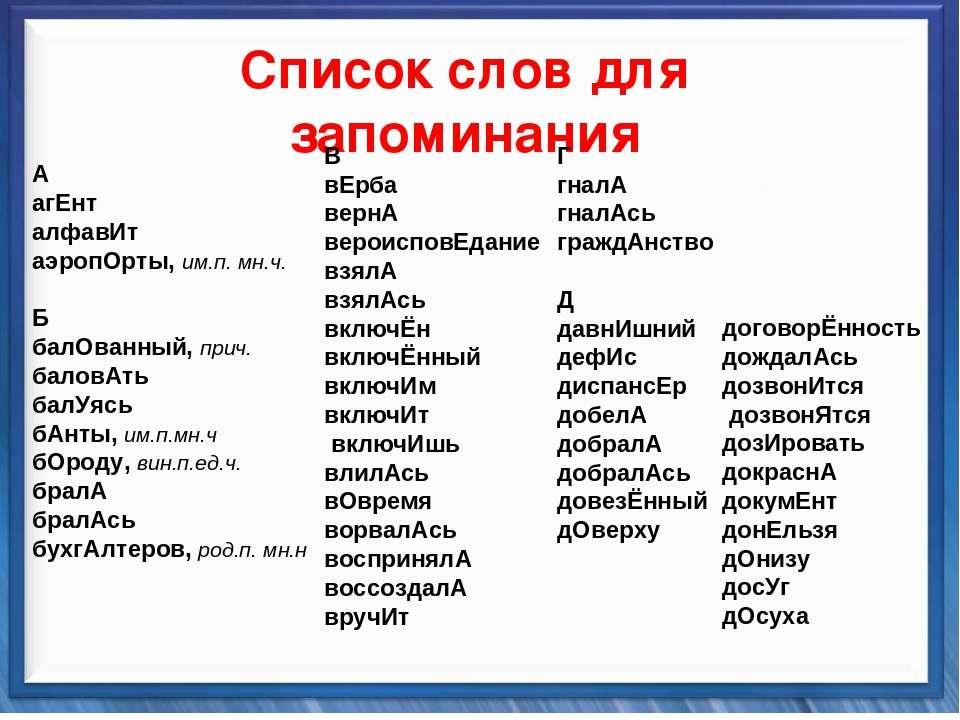 Синтаксические средства   Список слов для запоминания А агЕнт алфавИт а...