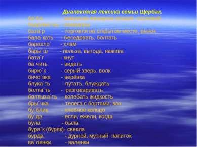 Диалектная лексика семьи Щербак. ба´ба - замужняя женщина низших сословий бад...