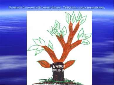 Выявили 5 поколений семьи Башко. Общаясь с родственниками, выявили их диалект...