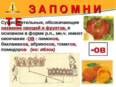 З А П О М Н И Т Е Существительные, обозначающие название овощей и фруктов, в ...