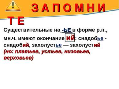З А П О М Н И Т Е Существительные на -ЬЕ в форме р.п., мн.ч. имеют окончание ...