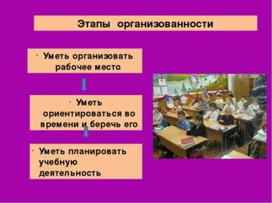 Этапы организованности Уметь организовать рабочее место Уметь ориентироваться...