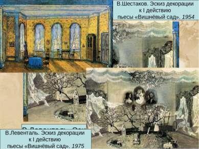Первое действие В.Шестаков. Эскиз декораций к I действию пьесы «Вишнёвый сад»...
