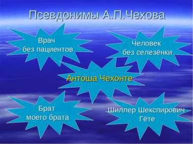 Псевдонимы А.П.Чехова Врач без пациентов Антоша Чехонте Брат моего брата Шилл...