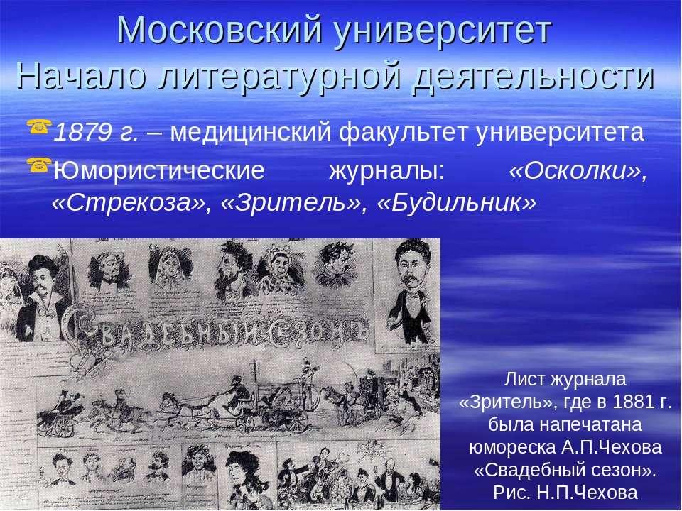 Московский университет Начало литературной деятельности 1879 г. – медицинский...