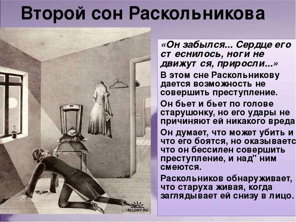 Второй сон Раскольникова «Он забылся... Сердце его стеснилось, ноги не движут...