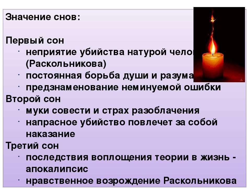 Значение снов: Первый сон неприятие убийства натурой человека (Раскольникова)...