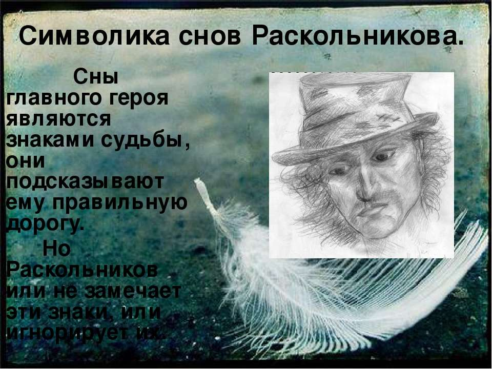 Символика снов Раскольникова. Сны главного героя являются знаками судьбы, они...