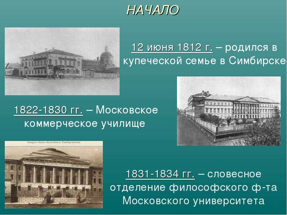 НАЧАЛО 12 июня 1812 г. – родился в купеческой семье в Симбирске 1822-1830 гг....